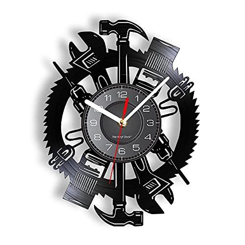 xiayanmei Craftsman Herramientas Vinil LP Reloj de Pared Retro Decoración para el hogar Garaje Signo Moderno Diseño Mecánico silencioso Herramientas Mecánico Hombre Cueva Ilustraciones
