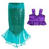 MSemis Traje de Baño Disfraces Sirena Disfraz Infantil Sirenita para Niñas Bikini y Falda Elástica con Lentejuelas Ropa de Playa Fiesta Regalo Cumpleaños Morado y Verde 5 años