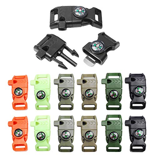 "12pcs Pack Mix Colors 5/8"" Compass Flint Scraper Fire Starter Whistle Buckle Plastic Paracord Bracelet Outdoor Camping Emergency Survival Travel Kits #FLC158-FWC(Mix-s) (12pcs)"