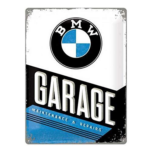 Nostalgic-Art Targa Vintage BMW – Garage – Idea Regalo per Amanti di Accessori per Auto, in Metallo, Design Retro per Decorazione, 30 x 40 cm