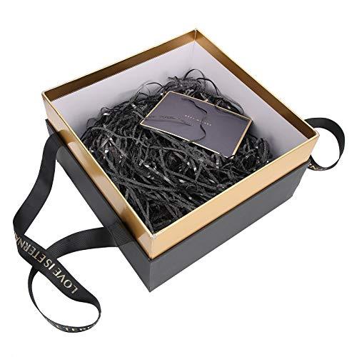 FOLOSAFENAR Elegante con Cadena de luz pequeña Estuche de Regalo de Color Opcional Excelente Caja de Regalo Artesanal con Rafia Ideal para Guardar Joyas(Black (Package A))