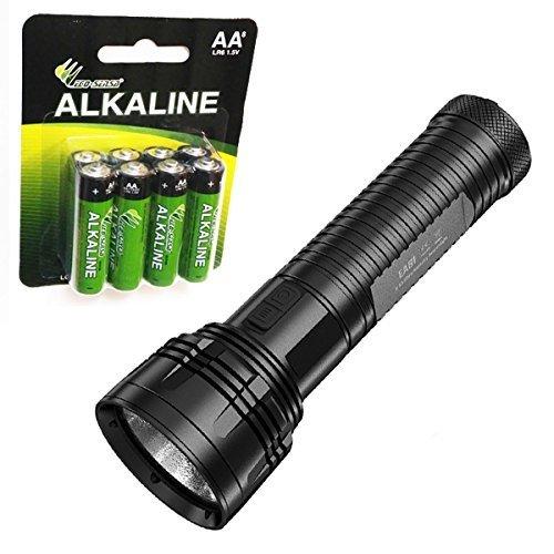 Nitecore EA81 Cree XHP50 Searchlight Flashlight with 8 Premium Eco-Sensa AA batteries