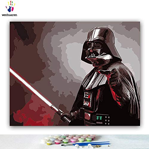 Malen nach Zahlen Kits Ölgemälde für Kinder, Studenten, Erwachsene, Anfänger mit Pinsel und Acryl-Pigment Star-Wars-Film-Charaktere Darth Vader Kylo Ren 16x20 with frame 21229