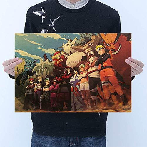 Material: fuerza Tamaño: unos 50.5 * 35 cm TIE LER Estilo de Dibujos Animados Vintage Anime Naruto Poster Bar Para Niños Habitación Decoración para el Hogar Libros de Cómics Naruto Retro Papel Kraft Pintura 50.5x35 cm TIE LER Estilo de Dibujos Animad...
