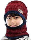 Petrunup Ensemble Bonnet et Écharpe en Tricot d'hiver pour Enfant 2 Pièces Bonnet de Ski Tricoté Épais Doux et Chaud avec Doublure en Polaire pour Garçons Filles Rouge