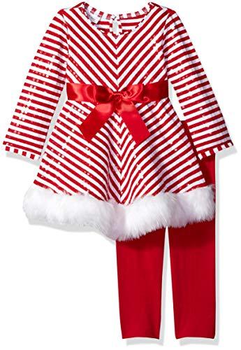 Bonnie Jean Süße Zuckerstangen-Tunika mit Plüsch und Pailetten inkl. Legging in rot/weiß Gr. 56,62,68,74,80,86,92,98,104,110,116,122 Größe 116