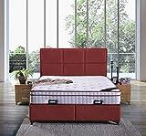 Cama canapé Madrid con canapé de tela, cama doble color burdeos, tamaño 180 x 200 cm