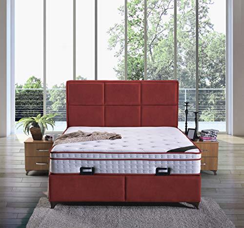 Cama con somier Madrid con canapé de tela, cama doble de hotel, superficie de descanso, 180 x 200 cm, color burdeos