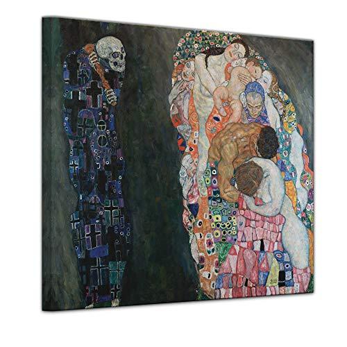Wandbild Gustav Klimt Tod und Leben - 40x40cm Quadrat - Alte Meister Berühmte Gemälde Leinwandbild Kunstdruck Bild auf Leinwand