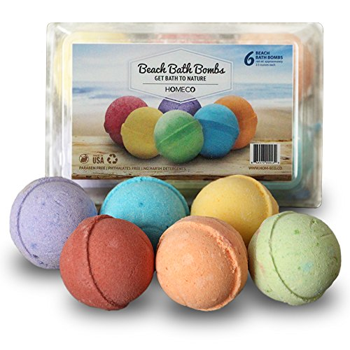 Bath Bombs Gift Set of 6, Beach Scents, Paraben Free, Phthalates Free, lush All Natural Essential...