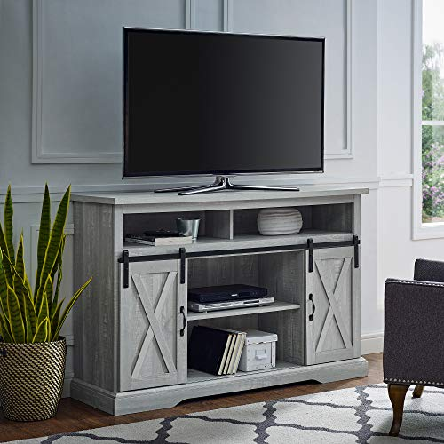 Walker Edison Furniture Company Modern Farmhouse Sliding Barndoor Wood Tall Universal Stand for TV's up to 58' Flat Screen Living Room Storage Cabinet Entertainment Center, 33 Inches, Stone Grey