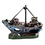 Gesh Decoración para acuario, barco hundido, barco de vela