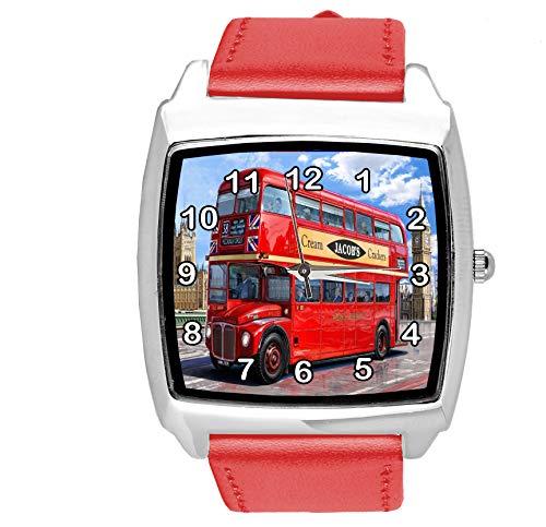 TAPORT Reloj cuadrado de cuero rojo para los fans del autobús de Londres