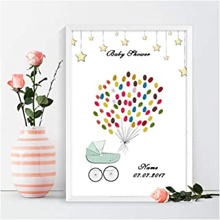 PartySunny Guest Fingerprint Tree Signature Book Personalize Customize Guest Sign-in Book 5pcs Ink Pads Kit for Wedding Birthday Party and Baby Shower(Baby Shower, for 100 Guests)