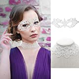 SnailGarden Women's Masquerade Lace Mask Set, Includes 1 White Goddess Lace Mask and 1 Lace Choker Necklace for Party, Prom Ball and Mardi Gras