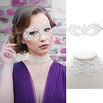 SnailGarden Women s Masquerade Lace Mask Set Includes 1 White Goddess Lace Mask and 1 Lace Choker Necklace for Party Prom Ball and Mardi Gras