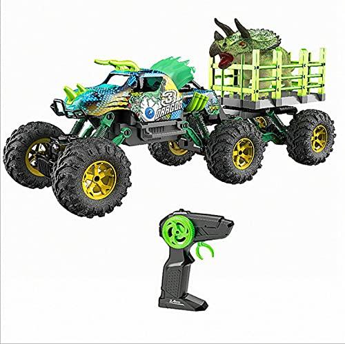 CYLYFFSFC 1:14 control remoto stunt drift escalada vehículo todoterreno dinosaurio 2.4G jurassic trailer head modelado juguete coche de juguete para niños niño y niña juguete de cumpleaños regalo para