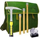 Rock Hammer Mining Kit, Rockhounding Geology Tools Musette Bag Chisels Rock Pick Hammer