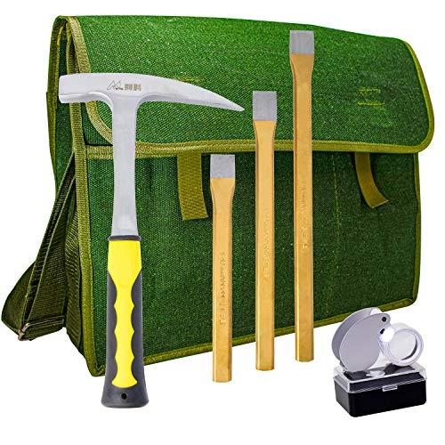 Rock Hammer Mining Kit Rockhounding Geology Tools Musette Bag Chisels Rock Pick Hammer