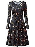 YYRZGW Vestido de Fiesta Acampanado Estampado de una línea de Manga Larga con Cuello Redondo Casual para Mujer Vestido de Calabaza de Halloween Vestido de Fiesta de Noche-Negro-Metro