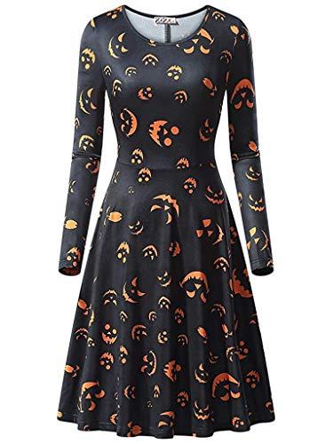 YYRZGW dam långärmad rund hals ledig A-linje tryckt utställd partyklänning halloween pumpa klänning kväll party gunga klänning-svart-M