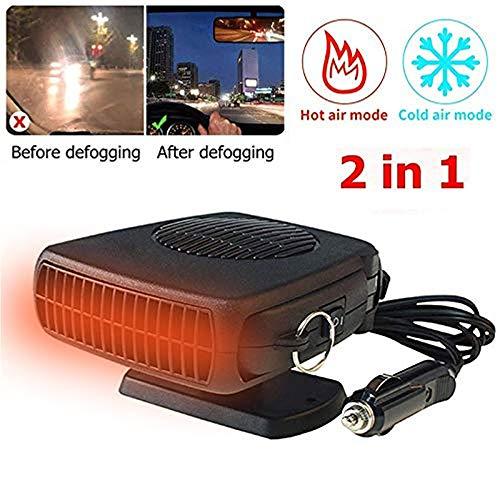 chauffage voiture dégivreur portable 12v, DokFin ventilateur de voiture électrique avec refroidissement/chauffage 2 en 1 fonction, réchauffeur de voiture avec la chaleur rapide et le bruit bas