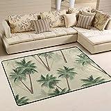 CENHOME Area Rugs Tropical Palm Trees Pattern Retro Floor Mat Indoor/Outdoor Non Slip Rugs Home Entryway Carpet Doormat
