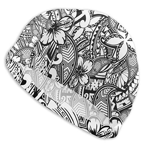 Gorro de natación de polinesia hawaiana con estampado de tatuaje de baño para ducha y protección de oídos para hombres, mujeres y adultos