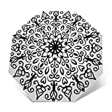 Paraguas Plegable Automático Impermeable Mandala Line Flor Floral, Paraguas De Viaje Compacto a Prueba De Viento, Folding Umbrella, Dosel Reforzado, Mango Ergonómico