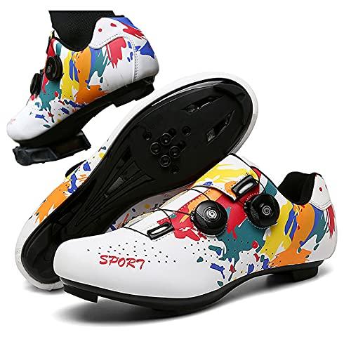 DSMGLRBGZ Zapatilla de Ciclismo, (37-46) Respirable Suela de Nailon/Goma, con Hebilla de Zapato Giratoria, Zapatillas de Hombre Mujer de Bicicleta de Carretera,Blanco,41
