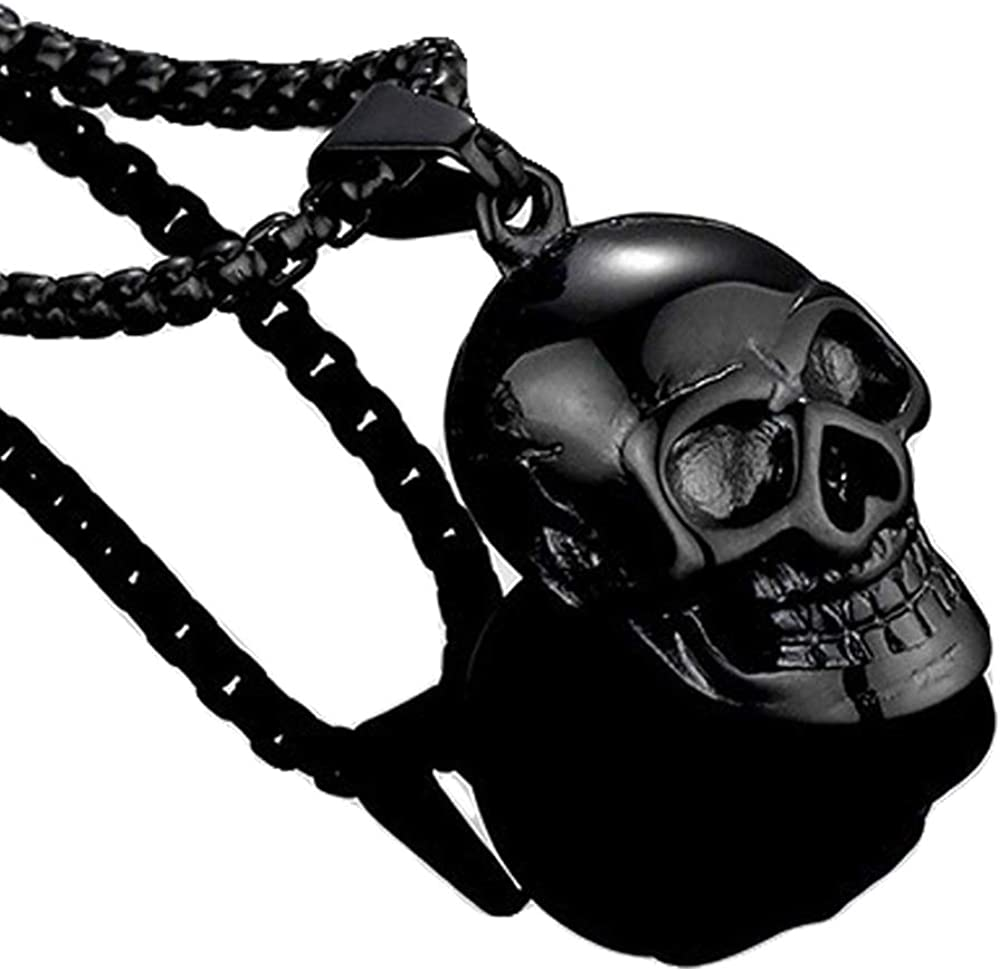 Collody Gothic Skull Necklace for men Stainless Steel Punk Rock or Hip hop Pendant Ajustable Polished Chain Suitable for Halloween