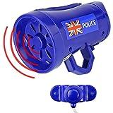 Mabax Polizei Fahrrad Sirene Cop | 3 Sounds Fahrradsirene | Kinder Fahrradhupe Fahrradklingel Blau