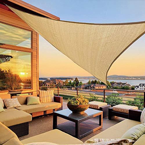 Koqit Sonnensegel inkl Befestigungsseile, Sonnensegel Dreieckig 3x3x3M Wasserabweisend Sonnenschutz Atmungsaktiv HDPE UV Schutz, Permeable Canopy für Terrasse, Balkon und Garten Khaki