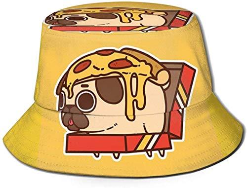 NA Bucket Hut niedlicher Pizza Mops Sonne Fischerhut Outdoor Hut UV Sonnenschutz Hut Faltbar Leicht Atmungsaktiv Reise Kappe Schwarz
