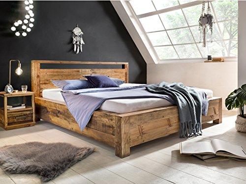 Woodkings Holzbett 180x200 Havelock Doppelbett Holz rustikal Schlafzimmer Massivholz Design Ehebett Balkenbett Massive Naturmöbel Echtholzmöbel günstig (Rec. Pinie)