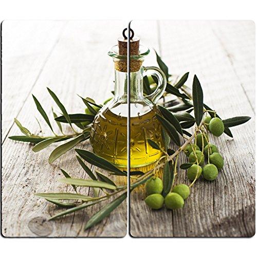 DEKOGLAS Herdabdeckplatten Set inkl. Noppen aus Glas 'Oliven und Öl', Herd Ceranfeld Abdeckung, 2-teilig universal 2x 52x30 cm