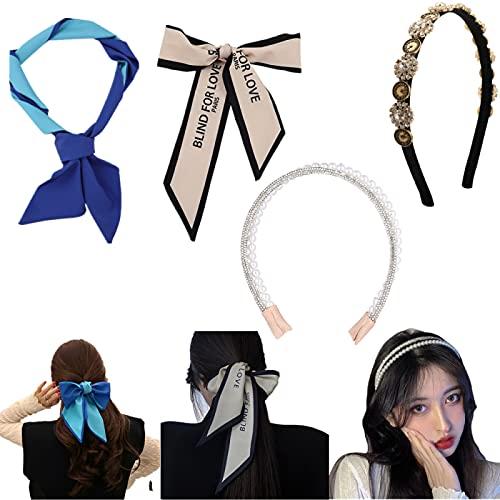 Diademas de Pelo Anchas para Mujer, Perlas Hair Scrunchies, Turbantes Para Mujer,...
