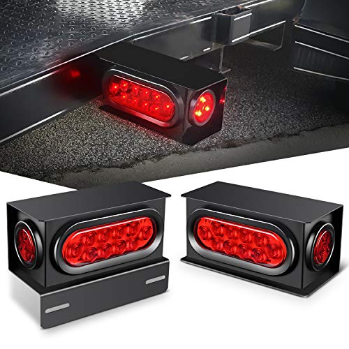 Nilight - TL-34 2PCS Steel Trailer Light Boxes Housing Kit w/6Inch Oval Red LED...