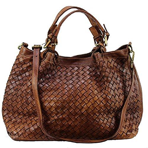 BZNA Bag Rene cognac geflochten Lederfarben Italy Designer Damen Handtasche Schultertasche Tasche Schafsleder Shopper Neu