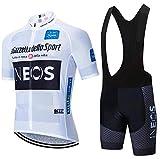 ADKE Conjunto Ropa Ciclismo Hombre, Traje MTB Maillot Bicicleta Mangas Cortas+3D Gel Culotte Pantalones Cortos Verano Equipacion Ciclismo (XL, INEOS-WTBK)