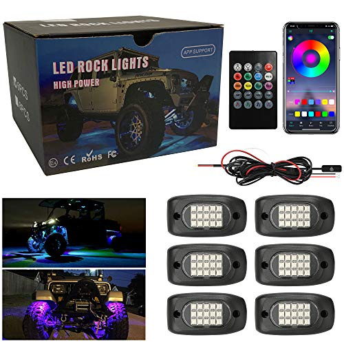 Winunite RGB LED Rock Lights 6 Pods, 90LEDs...