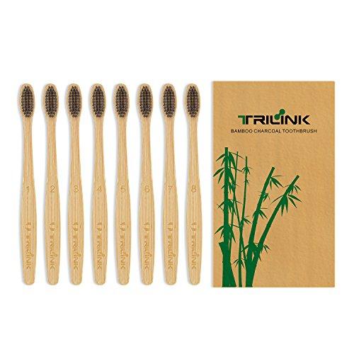 TriLink Bambus Aktivkohle Zahnbürste - 100% Bio, natürliche, biologisch abbaubare und umweltfreundliche Zahnbürste mit extra dünnen weichen BPA-freien Borsten für Erwachsene – 8er Pack