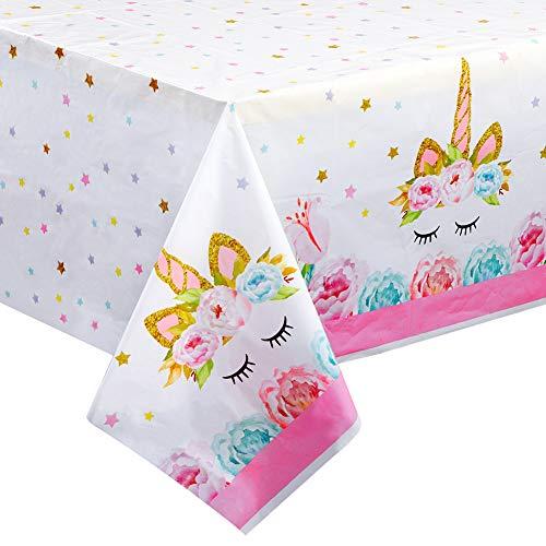 AerWo, tovaglia di plastica con Unicorno, Decorazione per Feste di Compleanno, USA e Getta, tovaglia con unicorni magici per Feste per Ragazze e Baby Shower, 135 x 229 cm