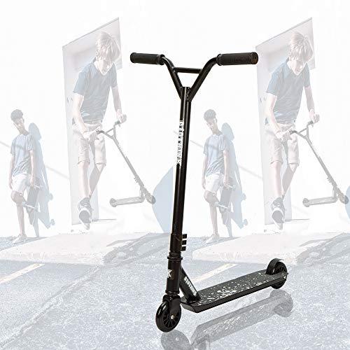 Clothink Universal Pro Stunt Scooter Weiss Schwarz - Stunt Roller mit 100 mm PU Räder für ab 7 Jahren (für 120cm bis 185cm) Freestyle, Tricks, Hochleistung Tretroller