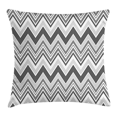 Geometric Pillow Cover,Abstract Geometrical Repeating Chevron V-Shaped Stripes Demonstration,18 X 18 Inch,Grey and White