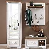 Lomadox Garderobenset im Landhaus-Stil mit Spiegelschrank in Pinie weiß mit Artisan Eiche