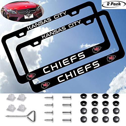 2PCS Fit Kansas City Chiefs Team Tag License Plate Frame Car Accessories,for BMW Mercedes-Benz Lexus Jeep Toyota Honda Mustang GMC RAM Porsche Cadillac American Car Standard Size License Plate Frame