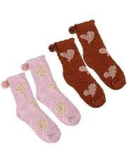 KESYOO 2 Pares de Calcetines Borrosos Navideños Calcetines Mullidos Cálidos de Invierno Zapatilla Suave Calcetines de Lana de Coral para Dormir en Casa para Mujeres Niñas