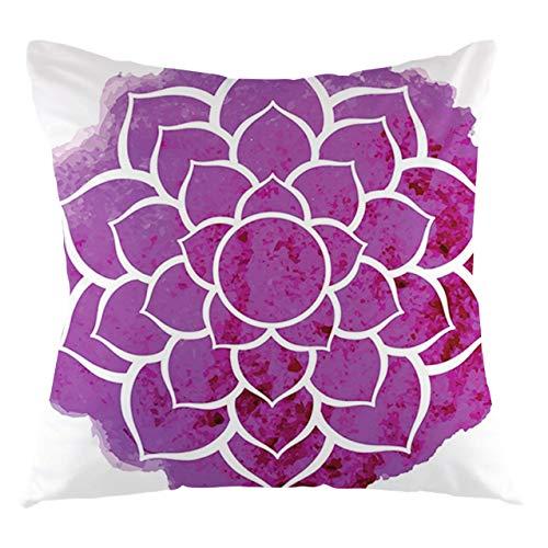 Purple Mandala Throw Pillow Cushion Cover Watercolor Lotus Flower Yoga Meditation Boho Style Painbrush Artwork Decorative Square Accent Pillow Case, 22' X 22',Fuchsia White