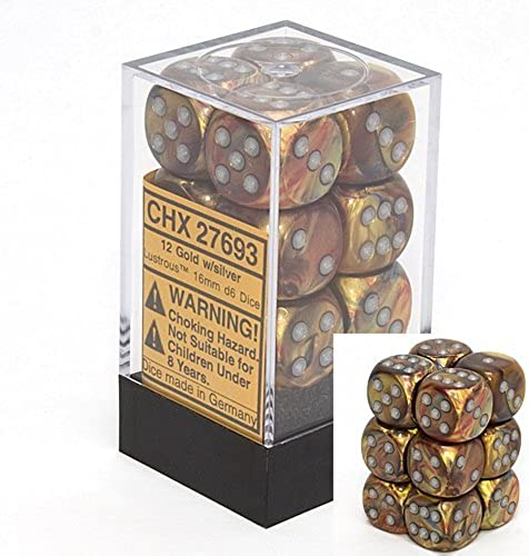 Chessex Dice d6 Sets  Lustrous Gold with Silber - 16mm Six Sided Die (12) Block of Dice by Chessex